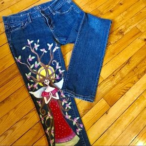 Hand Painted Upcycled Jeans